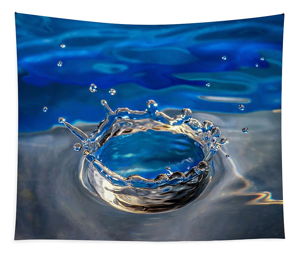 Macro Tapestry featuring the photograph The Birth Of Blue by Steve Harrington