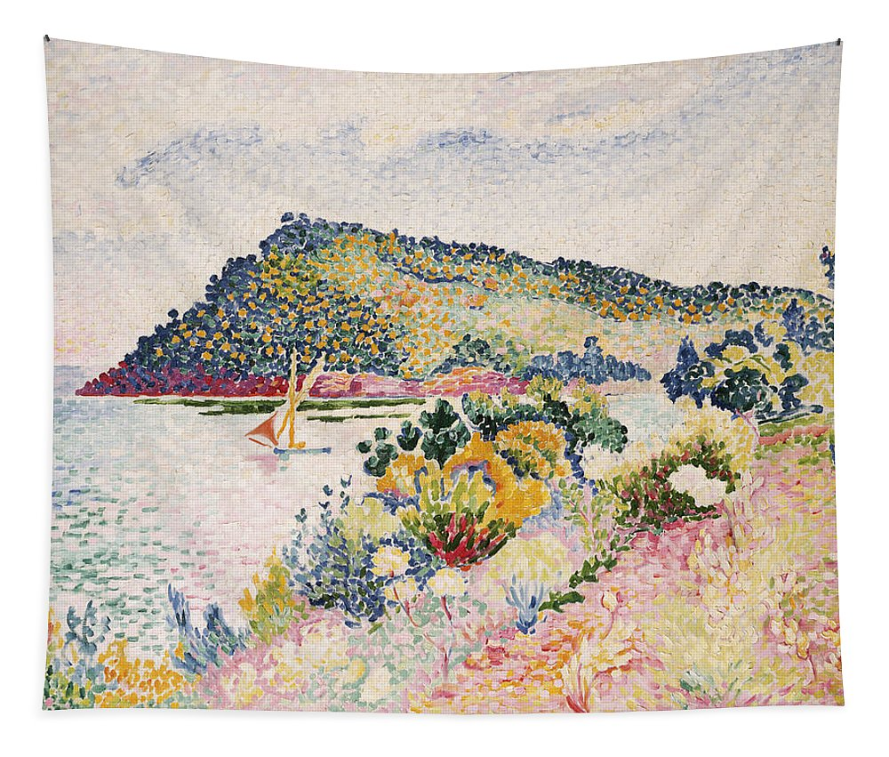 The Black Cape Tapestry featuring the painting The Black Cape Pramousquier Bay by Henri-Edmond Cross
