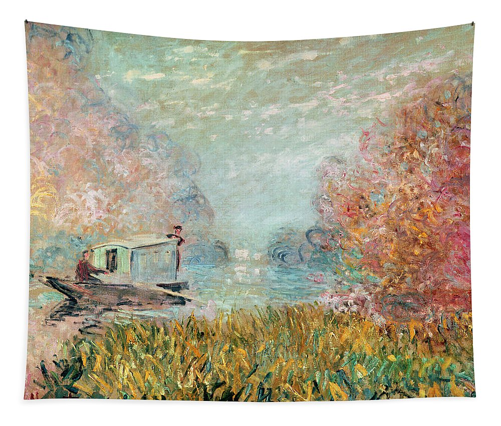 The Tapestry featuring the painting The Boat Studio On The Seine by Claude Monet