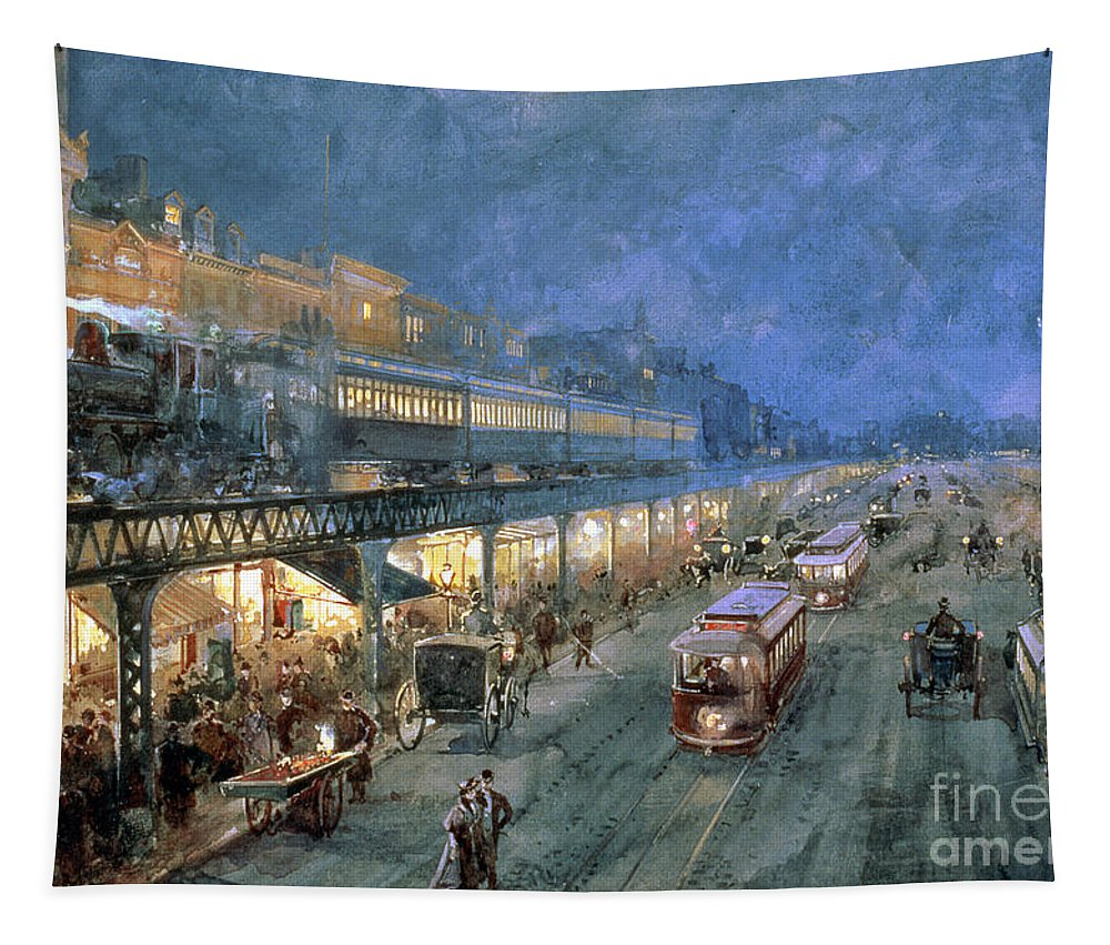 The Bowery At Night Tapestry featuring the painting The Bowery At Night by William Sonntag