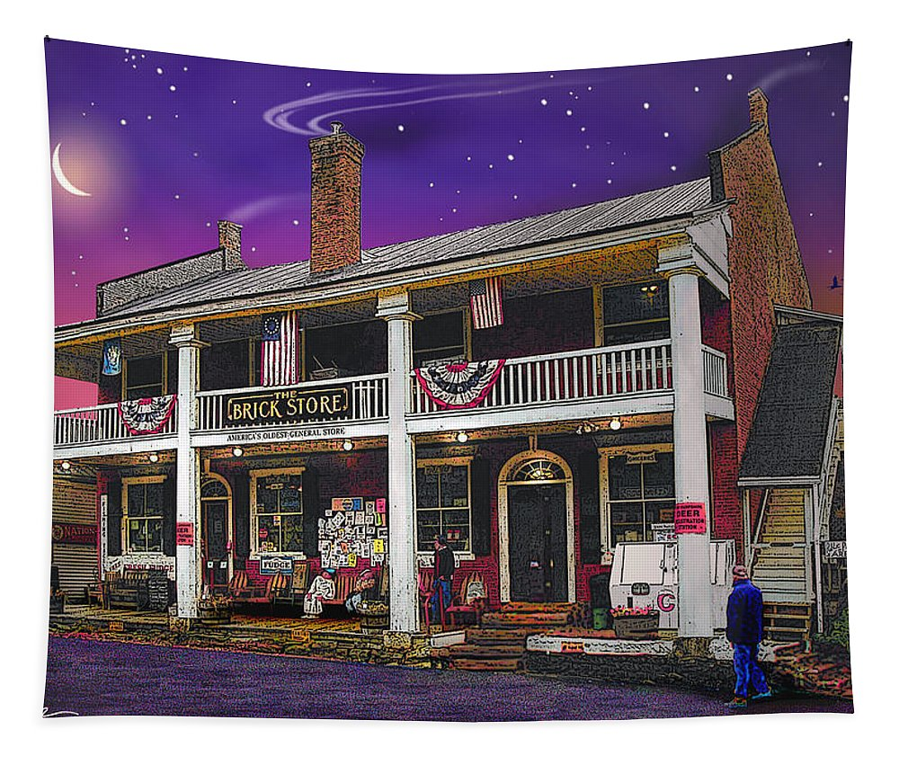 History Tapestry featuring the photograph The Brick Store In Bath by Nancy Griswold