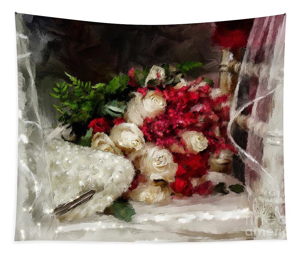 Bouquet Tapestry featuring the digital art The Bride's Bouquet by Lois Bryan