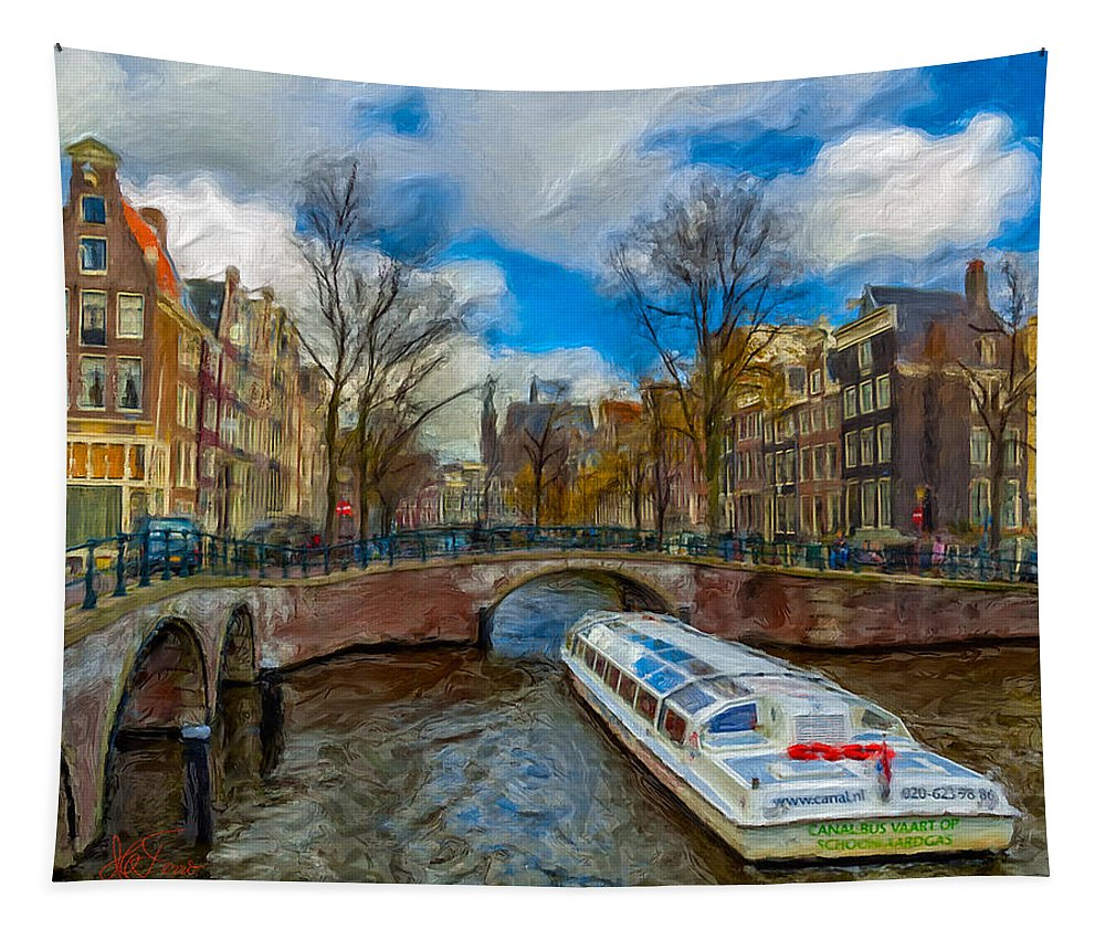 Amsterdam Tapestry featuring the photograph The Bridges Of Amsterdam by Juan Carlos Ferro Duque