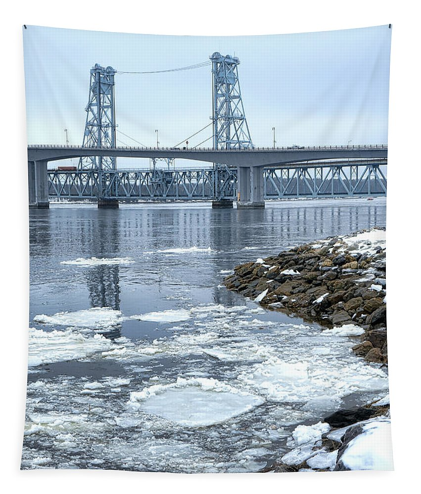 Sagadahoc Tapestry featuring the photograph The Bridges Of Bath In Winter by Olivier Le Queinec