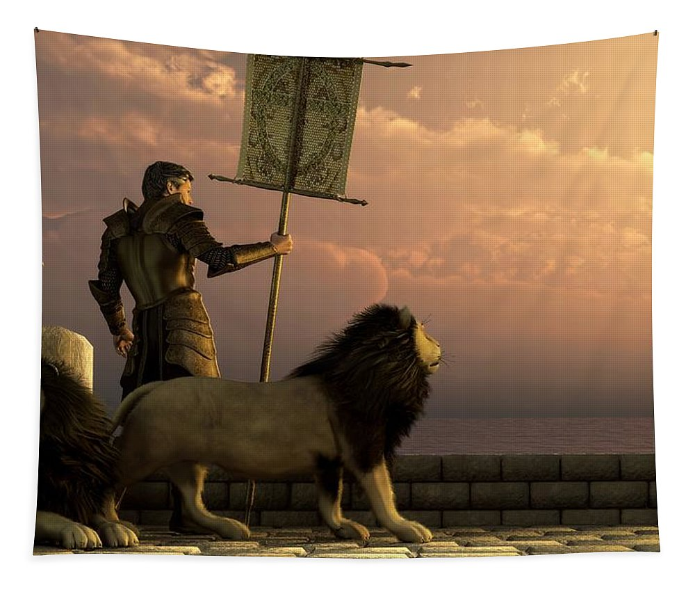 Knight Tapestry featuring the digital art The Bronze Knight Of The Isle Of Lions by Daniel Eskridge