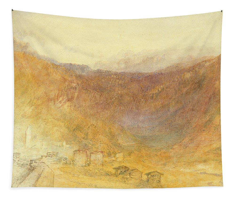 The Tapestry featuring the painting The Brunig Pass From Meiringen by Joseph Mallord William Turner