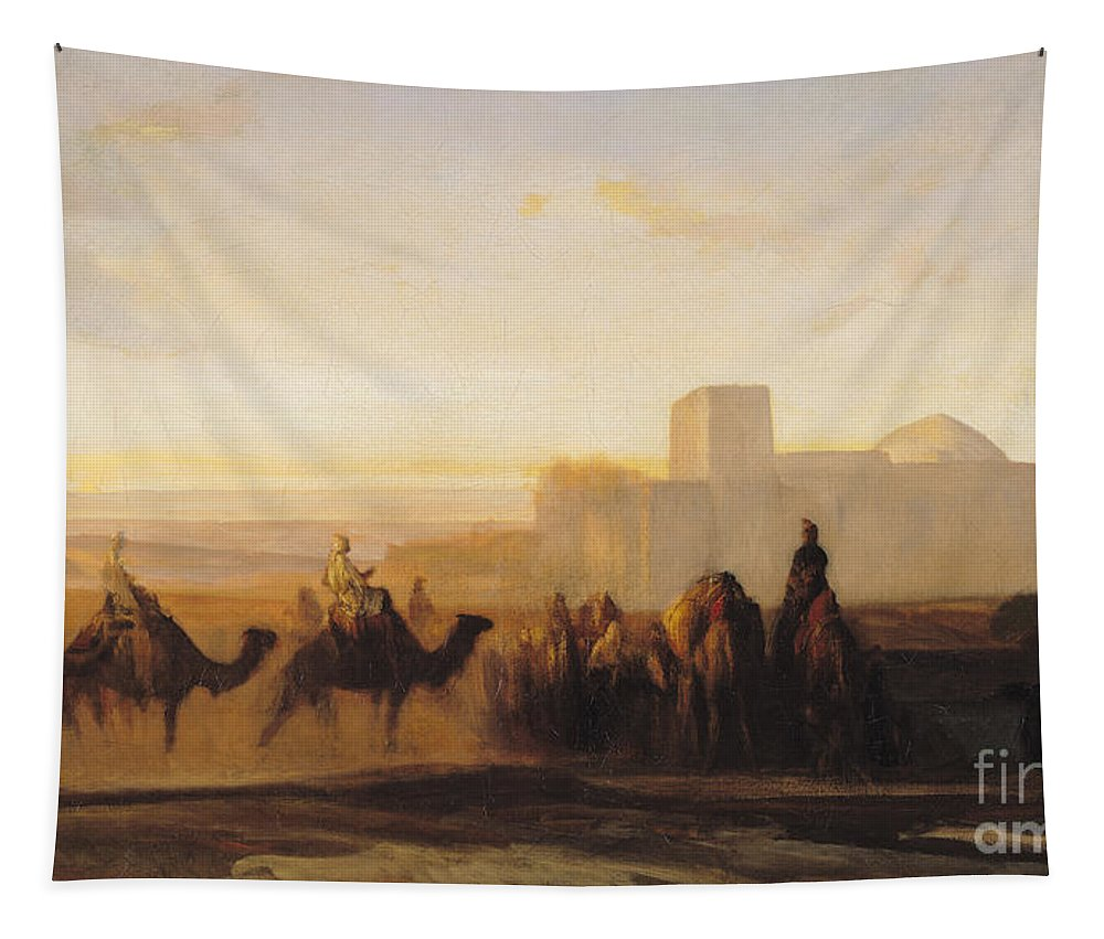 The Tapestry featuring the painting The Caravan by Alexandre Gabriel Decamps