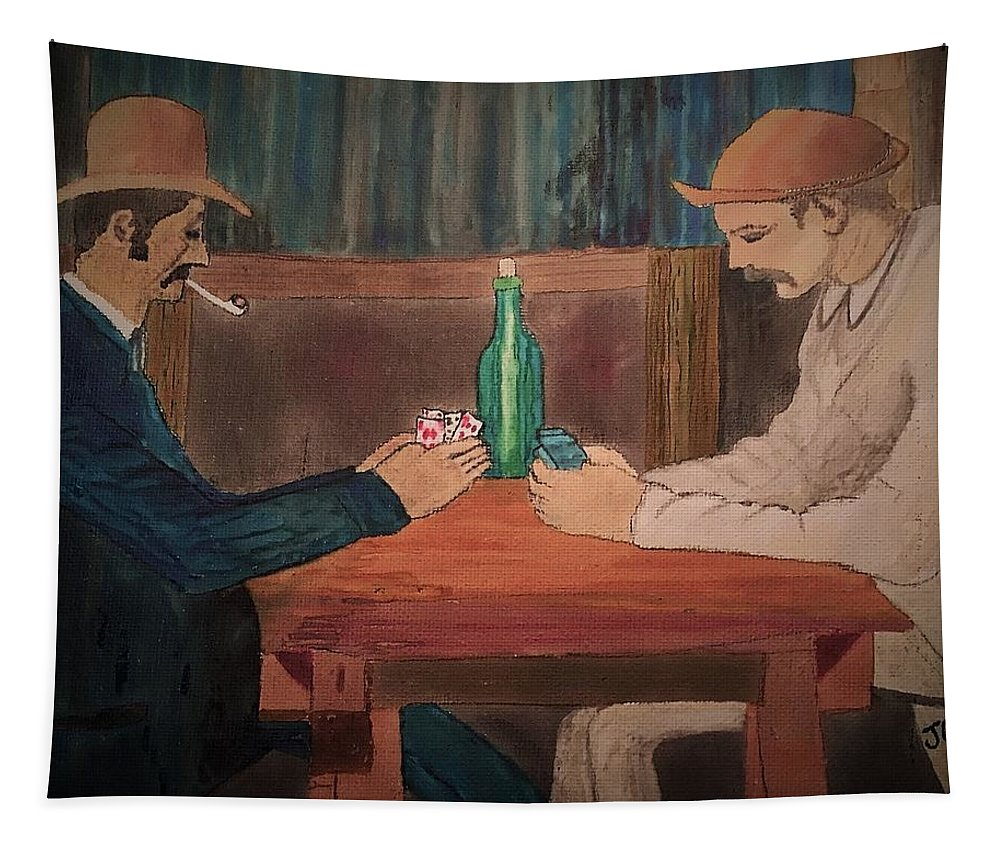 Cezanne Tapestry featuring the painting The Card Players by John Cunnane