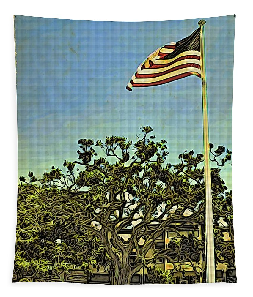 Alicegipsonphotographs Tapestry featuring the photograph The Casements Flag Flying by Alice Gipson