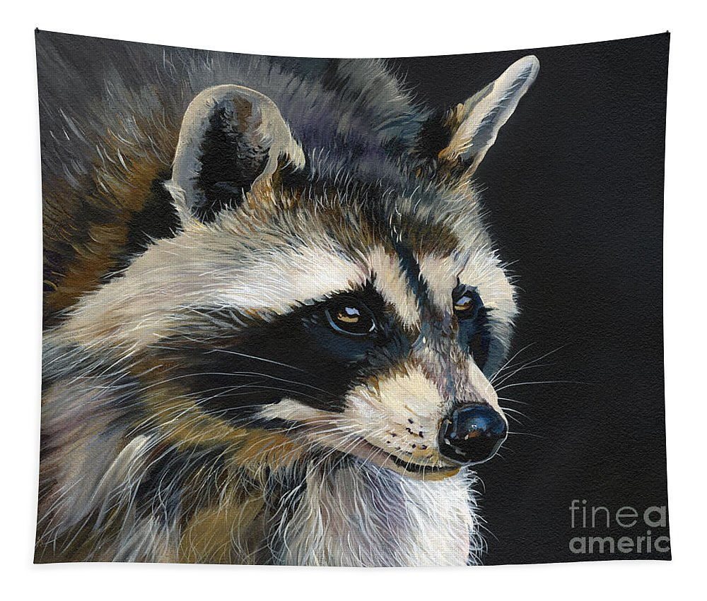 Indigenous Wildlife Tapestry featuring the painting The Cat Food Bandit by J W Baker