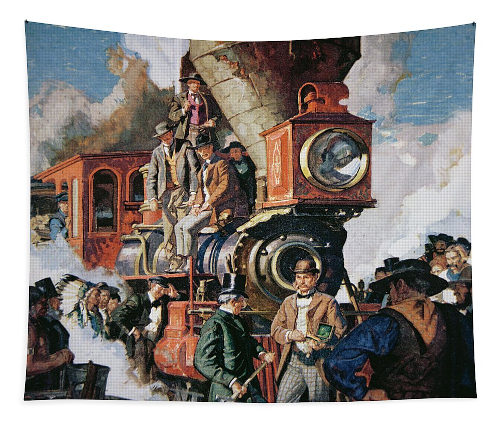 The Ceremony Of The Golden Spike On 10th May Tapestry featuring the painting The Ceremony Of The Golden Spike On 10th May by Dean Cornwall