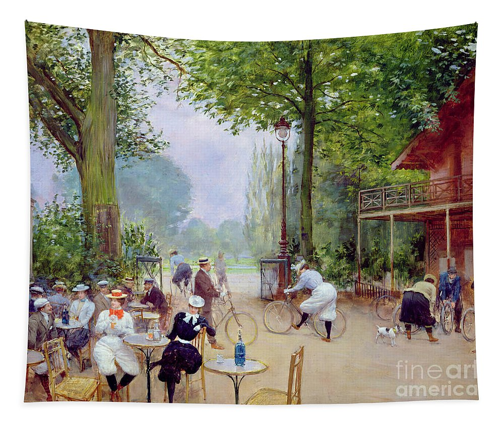 The Tapestry featuring the painting The Chalet Du Cycle In The Bois De Boulogne by Jean Beraud