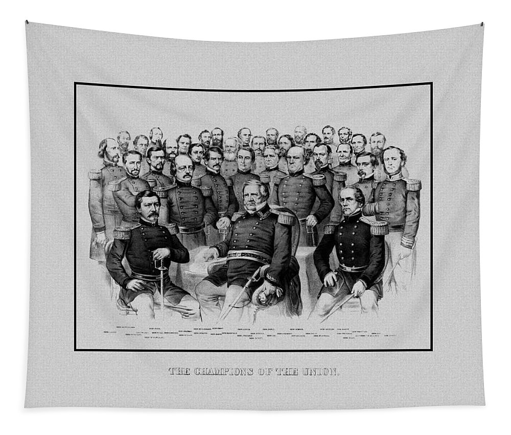 Civil War Tapestry featuring the mixed media The Champions Of The Union -- Civil War by War Is Hell Store