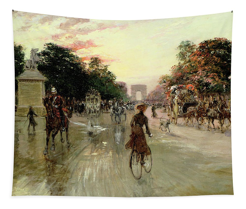 The Tapestry featuring the painting The Champs Elysees - Paris by Georges Stein