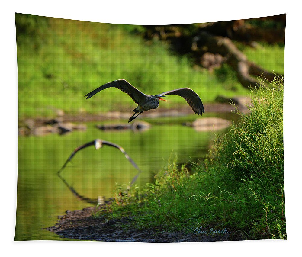 Heron Tapestry featuring the photograph The Chase by Chris Busch