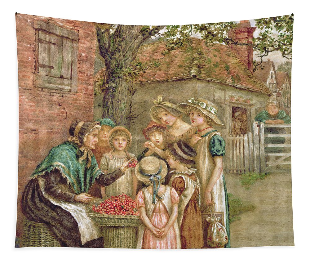 Old;cherries;girl;girls;selling;basket;bonnet Tapestry featuring the painting The Cherry Woman by Kate Greenaway