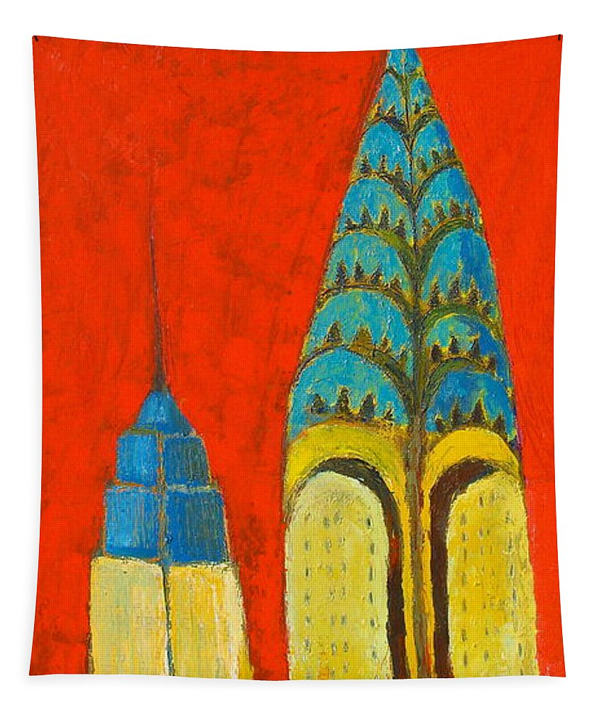 Tapestry featuring the painting The Chrysler And The Empire State by Habib Ayat
