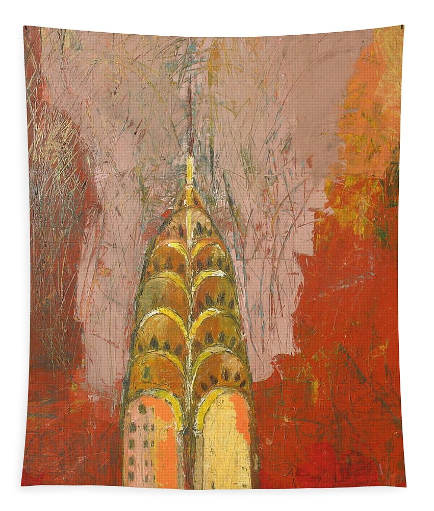 Abstract Cityscape Tapestry featuring the painting The Chrysler In Motion by Habib Ayat