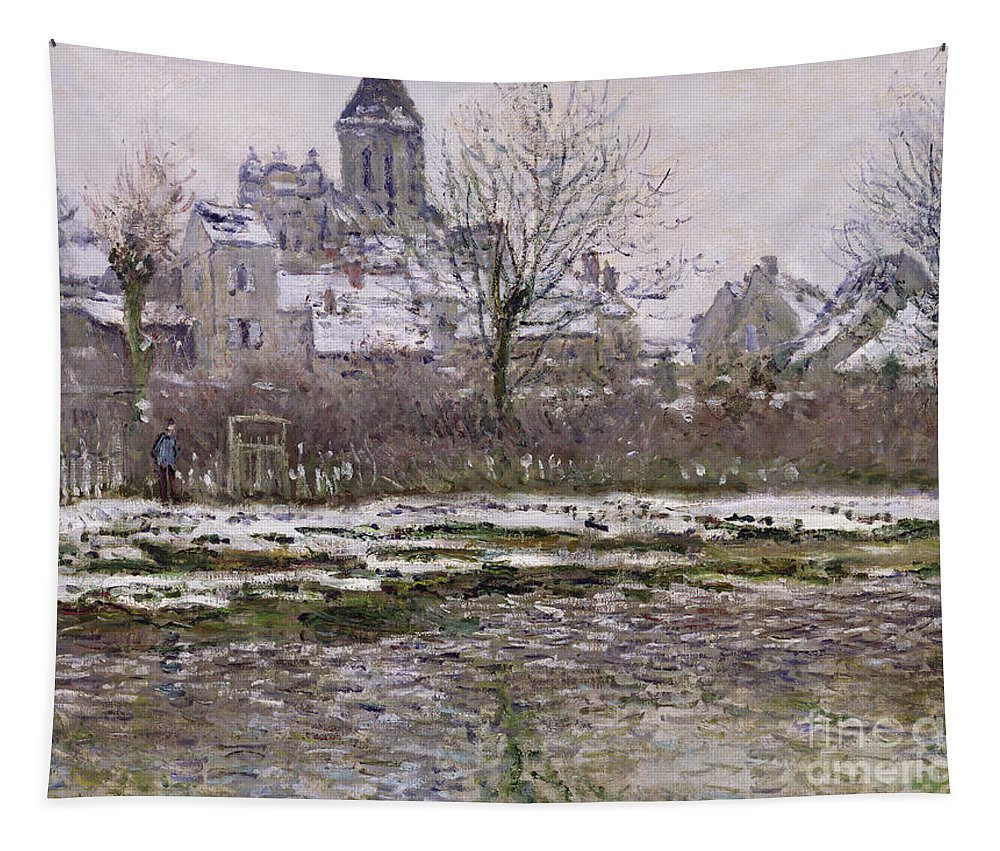 The Tapestry featuring the painting The Church At Vetheuil Under Snow by Claude Monet