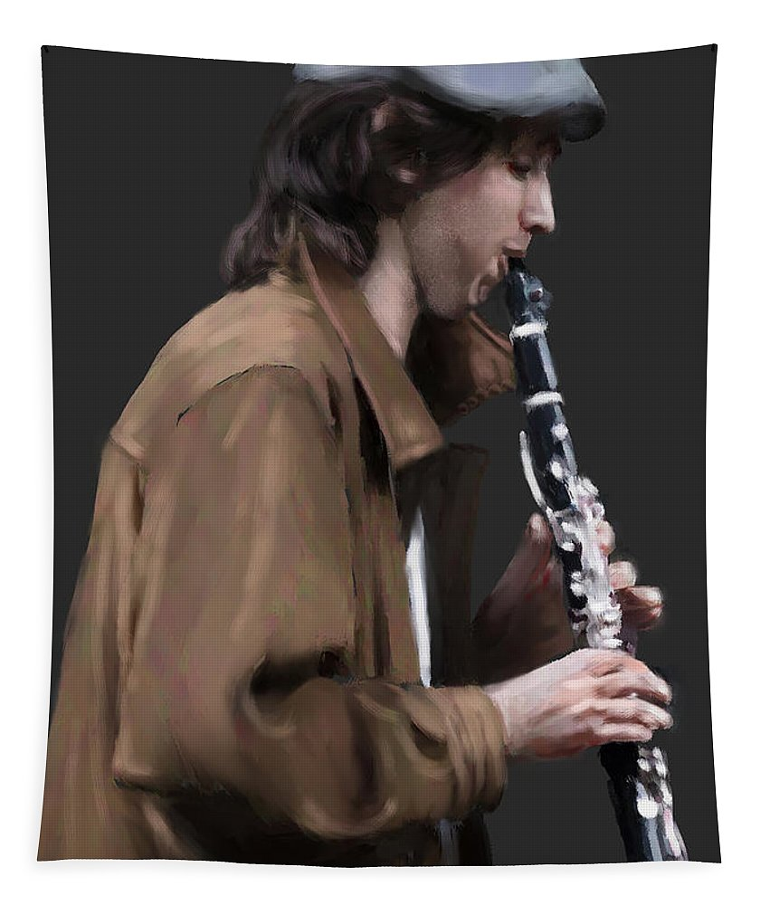 Figure Tapestry featuring the digital art The Clarinet Player by Scott Bowlinger