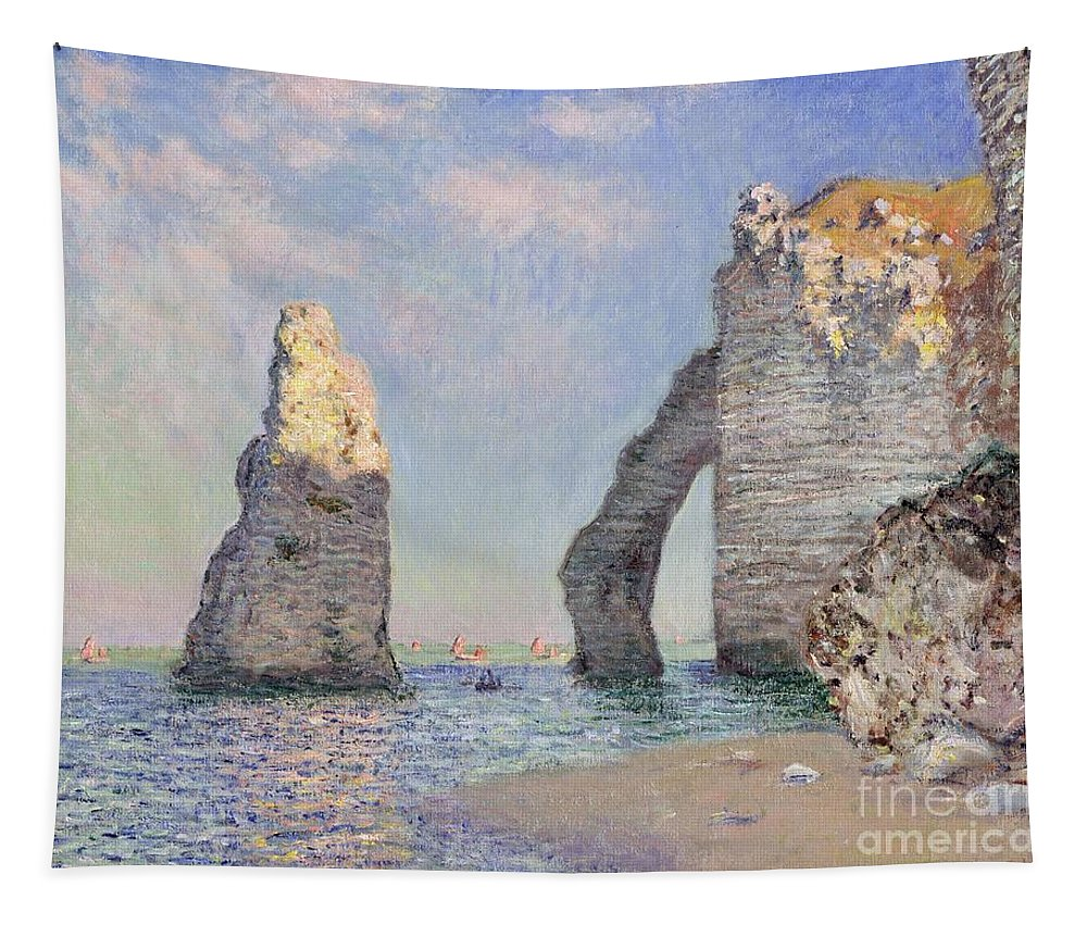 The Cliffs At Etretat Tapestry featuring the painting The Cliffs At Etretat by Claude Monet