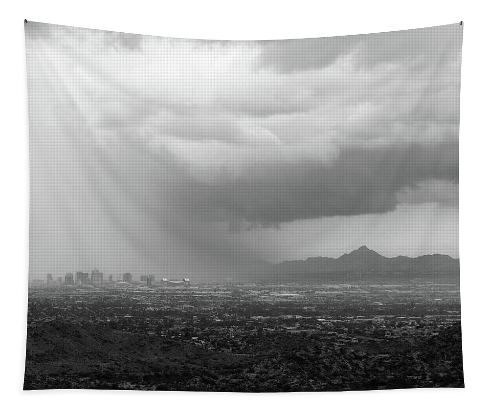 Storm Tapestry featuring the photograph The Coming Storm Black And White by Laurel Powell