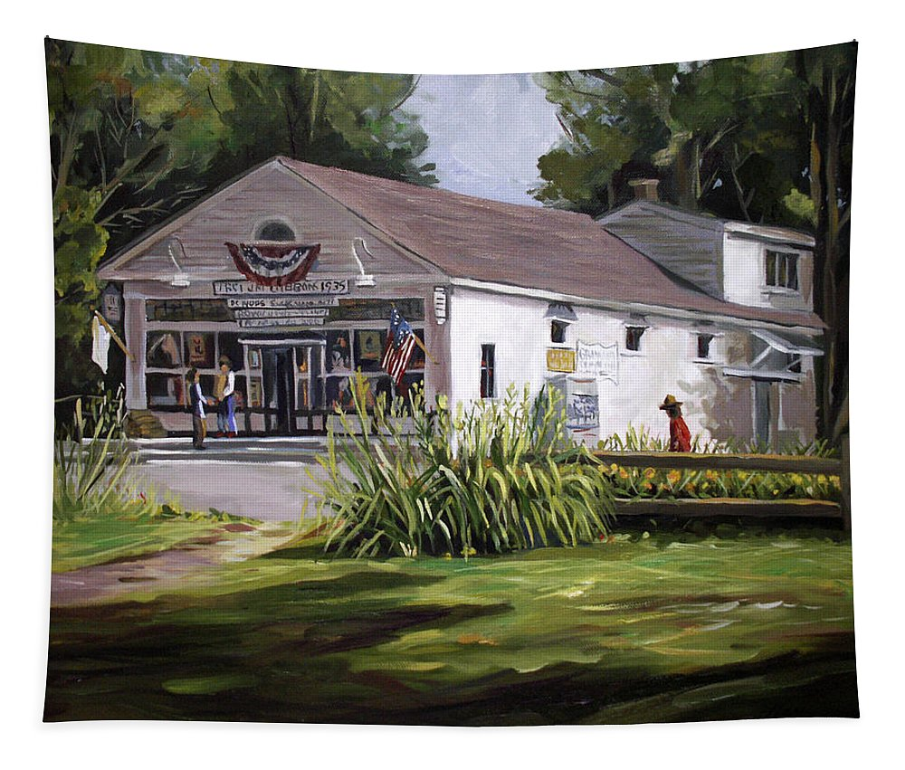 Buildings Tapestry featuring the painting The Country Store by Nancy Griswold