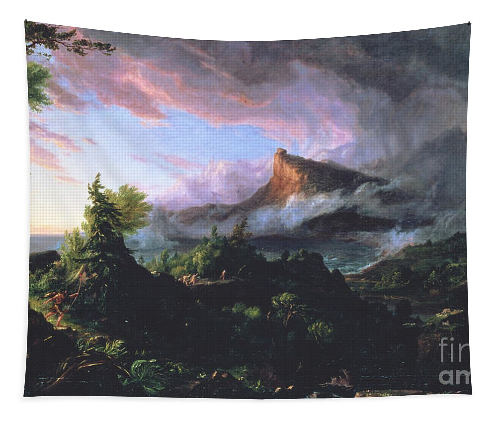 Wilderness Landscape Depicted At Sunrise Tapestry featuring the painting The Course Of Empire - The Savage State by Thomas Cole