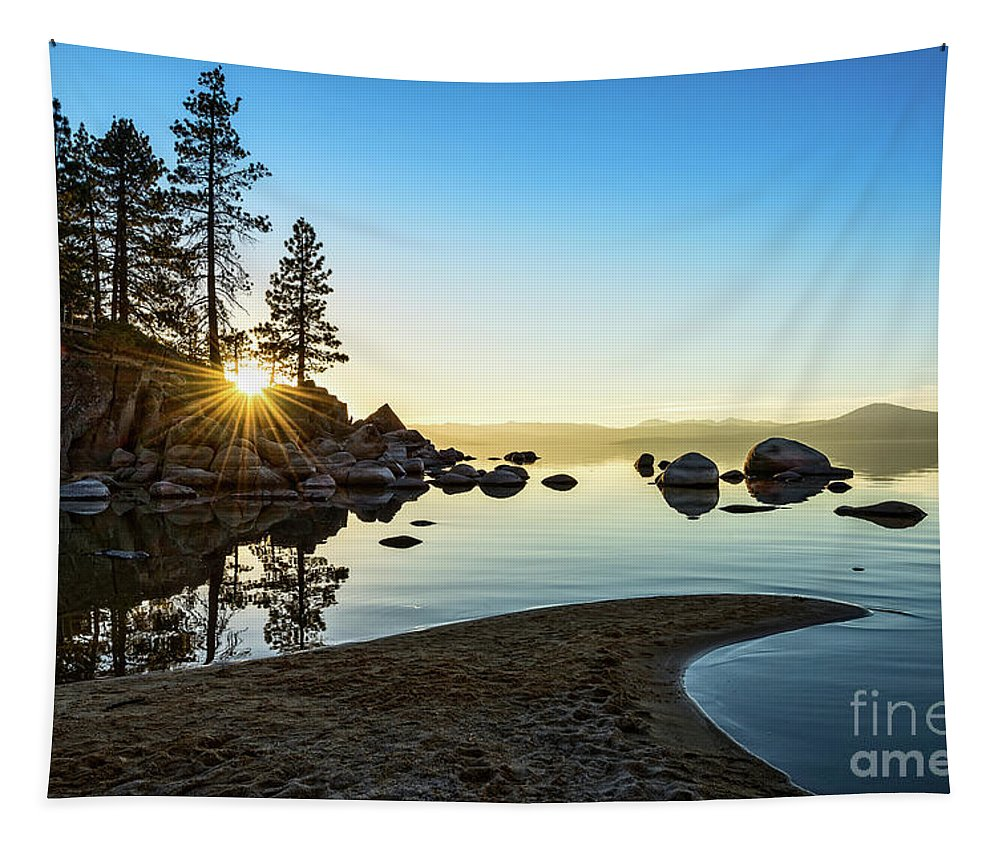 Sand Harbor Tapestry featuring the photograph The Cove at Sand Harbor by Jamie Pham