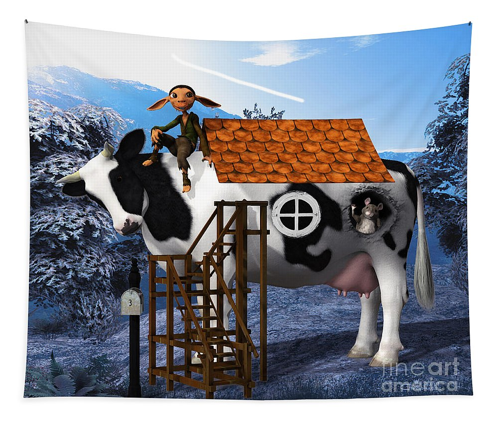 3d Tapestry featuring the digital art The Cow House by Jutta Maria Pusl