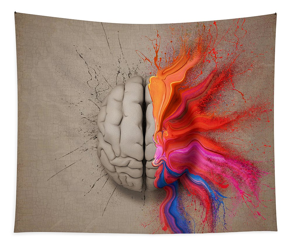 Brain Tapestry featuring the digital art The Creative Brain by Johan Swanepoel