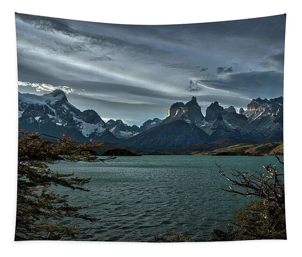 Patagonia Tapestry featuring the photograph The Cuernos And Lake Pehoe #3 - Chile by Stuart Litoff