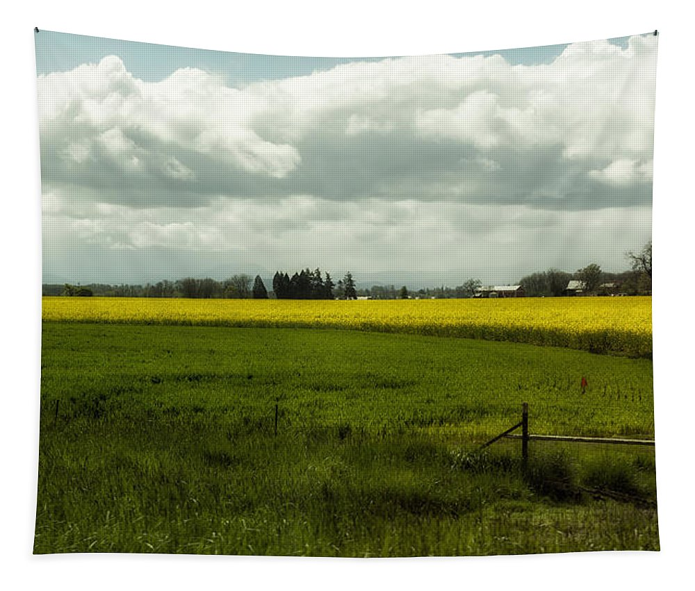 Farm Tapestry featuring the photograph The Curve Of A Mustard Crop by Belinda Greb