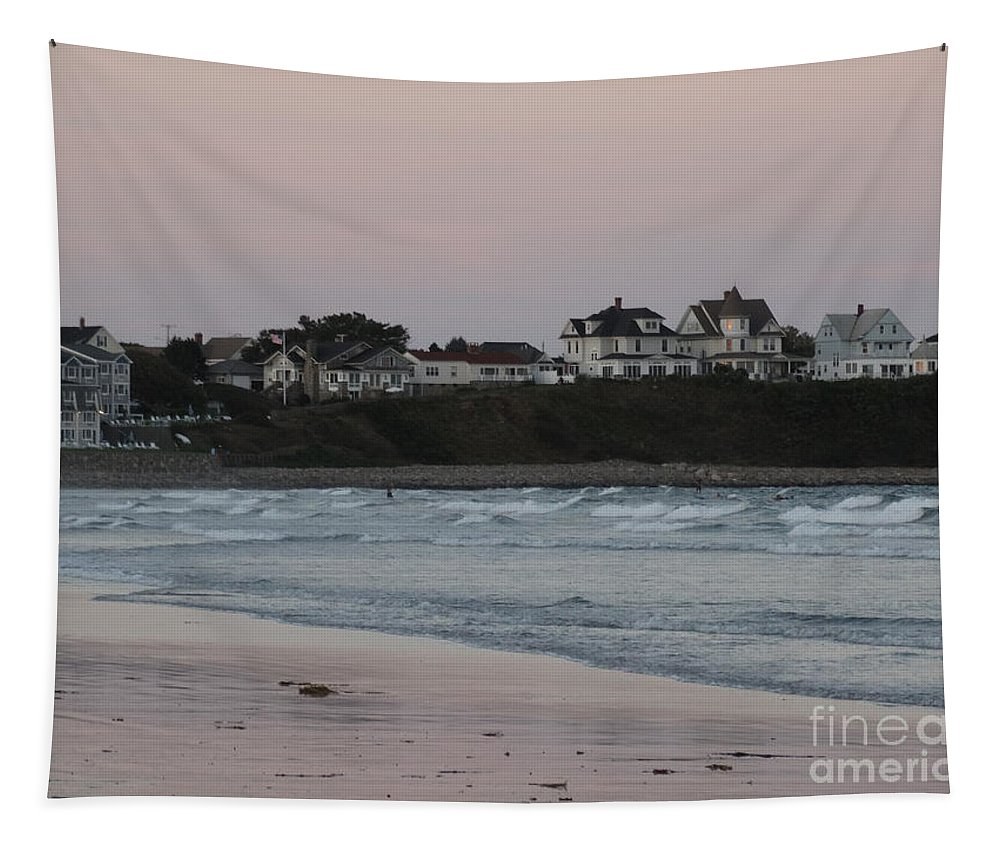 Maine Tapestry featuring the photograph The Day Is Done At Long Sands Beach by Gina Sullivan