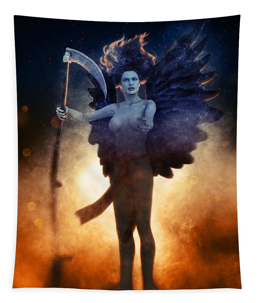 Free Thought Tapestry featuring the digital art The Death by Joaquin Abella