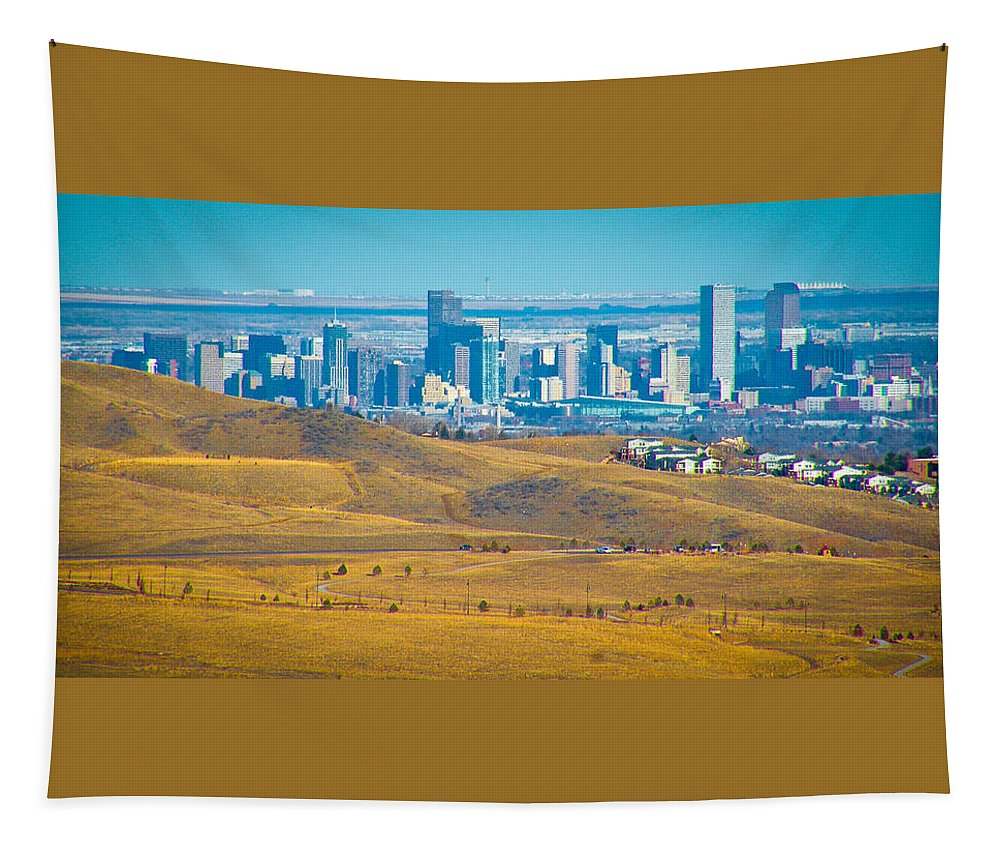 Red Tapestry featuring the photograph The Denver Skyline II by David Patterson