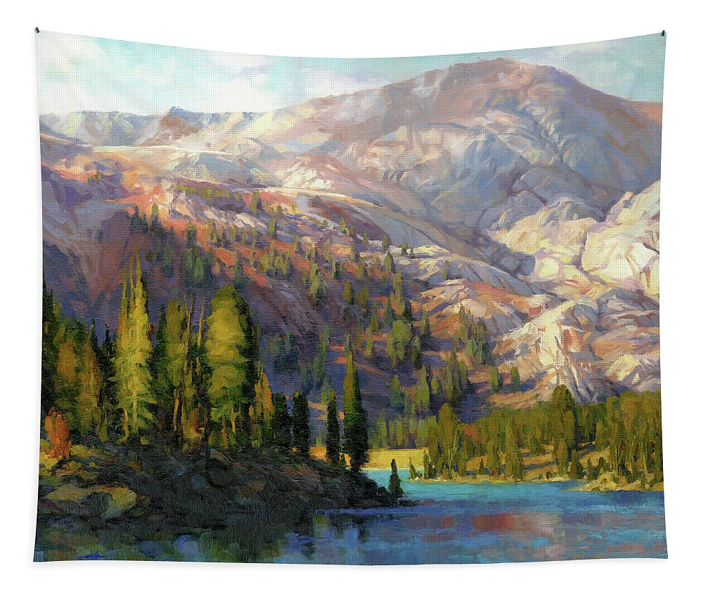 Mountain Tapestry featuring the painting The Divide by Steve Henderson