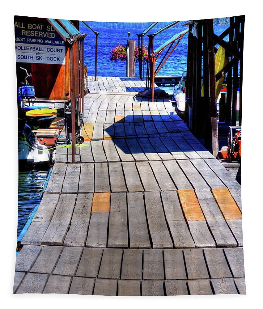 The Dock At Hill's Resort Tapestry featuring the photograph The Dock At Hill's Resort by David Patterson