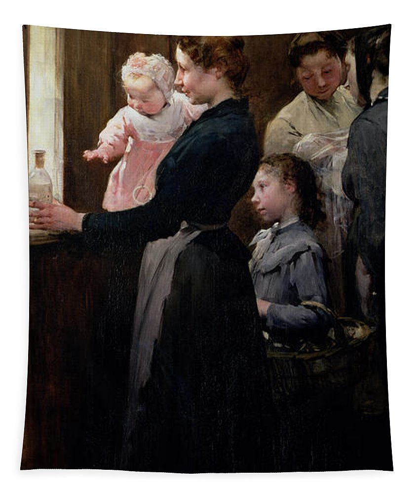 The Tapestry featuring the painting The Drop Of Milk In Belleville by Henri Jules Jean Geoffroy