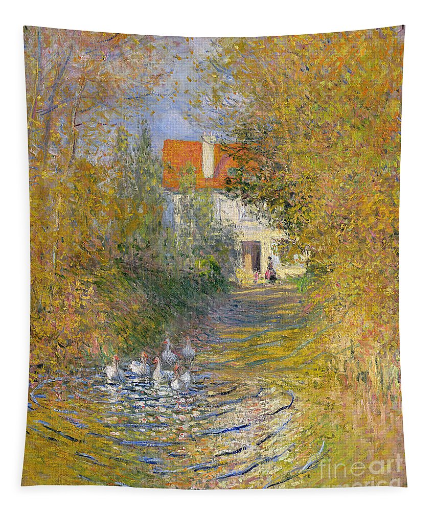 French Tapestry featuring the painting The Duck Pond by Claude Monet