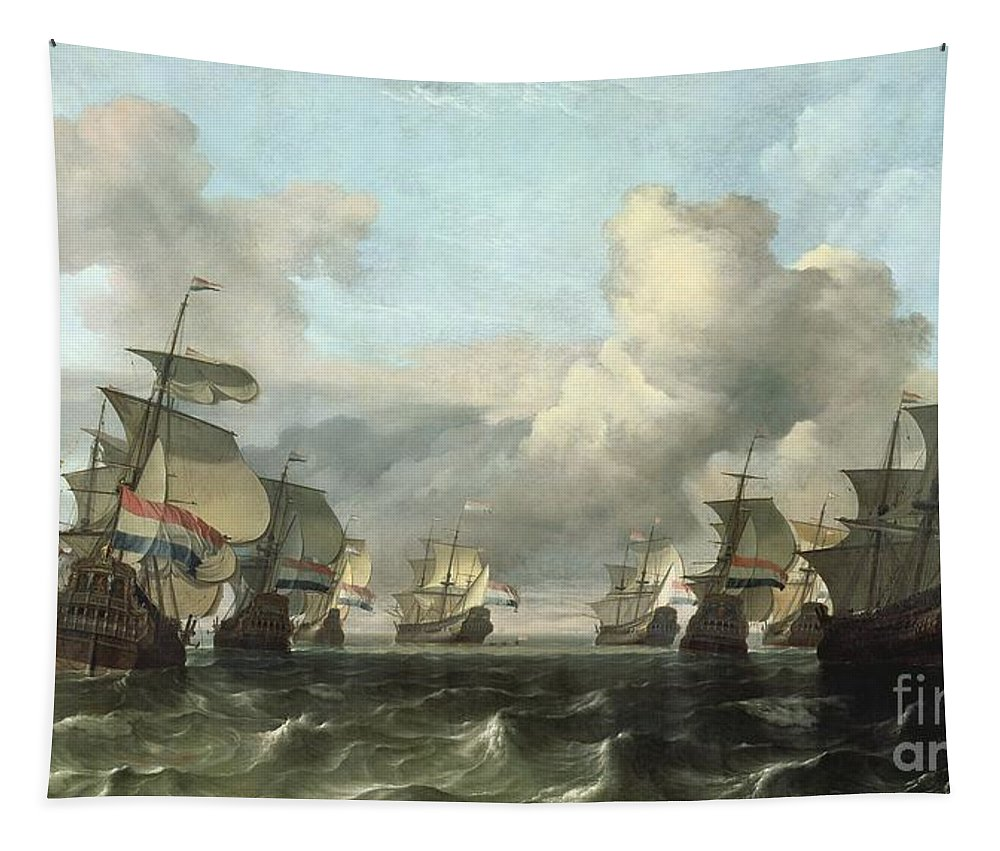 The Tapestry featuring the painting The Dutch Fleet Of The India Company by Ludolf Backhuysen