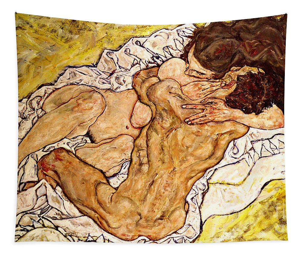 The Tapestry featuring the painting The Embrace by Egon Schiele