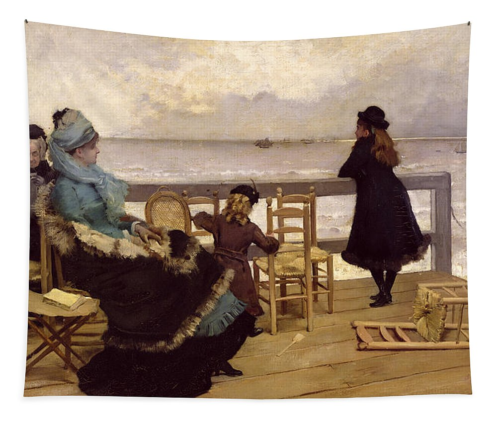 The Tapestry featuring the painting The End Of October by Ernest Ange Duez