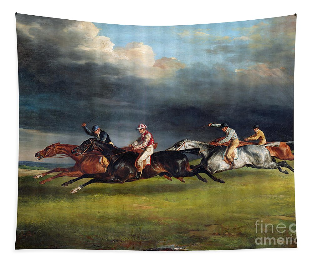 The Tapestry featuring the painting The Epsom Derby by Theodore Gericault