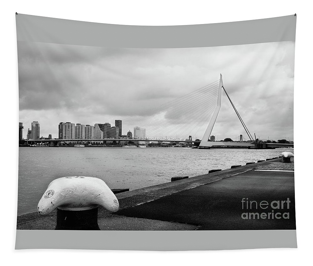 Rotterdam Tapestry featuring the photograph The Erasmus Bridge In Rotterdam Bw by RicardMN Photography