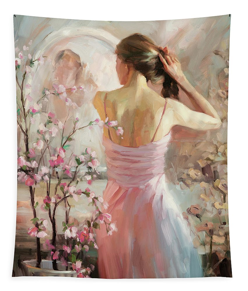 Woman Tapestry featuring the painting The Evening Ahead by Steve Henderson