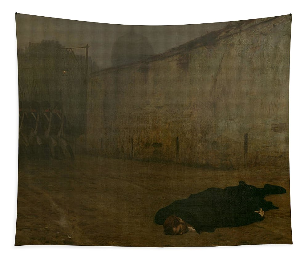 Firing Squad; French; Napoleonic; Death; Dead; Corpse; Execution; Executed; Marshal Ney; Shot; Treason Tapestry featuring the painting The Execution Of Marshal Ney by Jean Leon Gerome