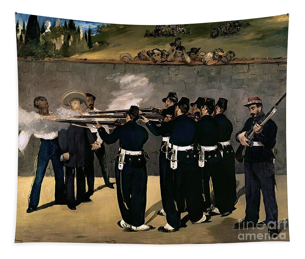 Manet Tapestry featuring the painting The Execution Of The Emperor Maximilian by Edouard Manet
