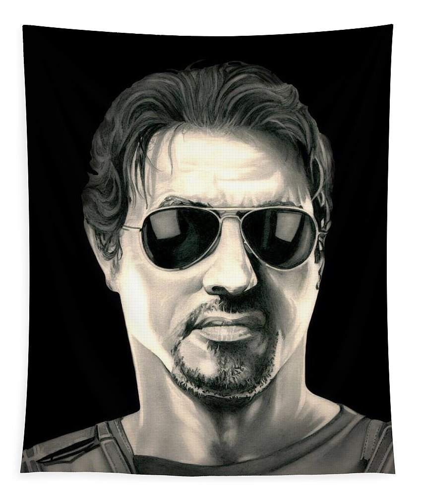 The Expendables Tapestry featuring the drawing The Expendables Barney Ross by Fred Larucci