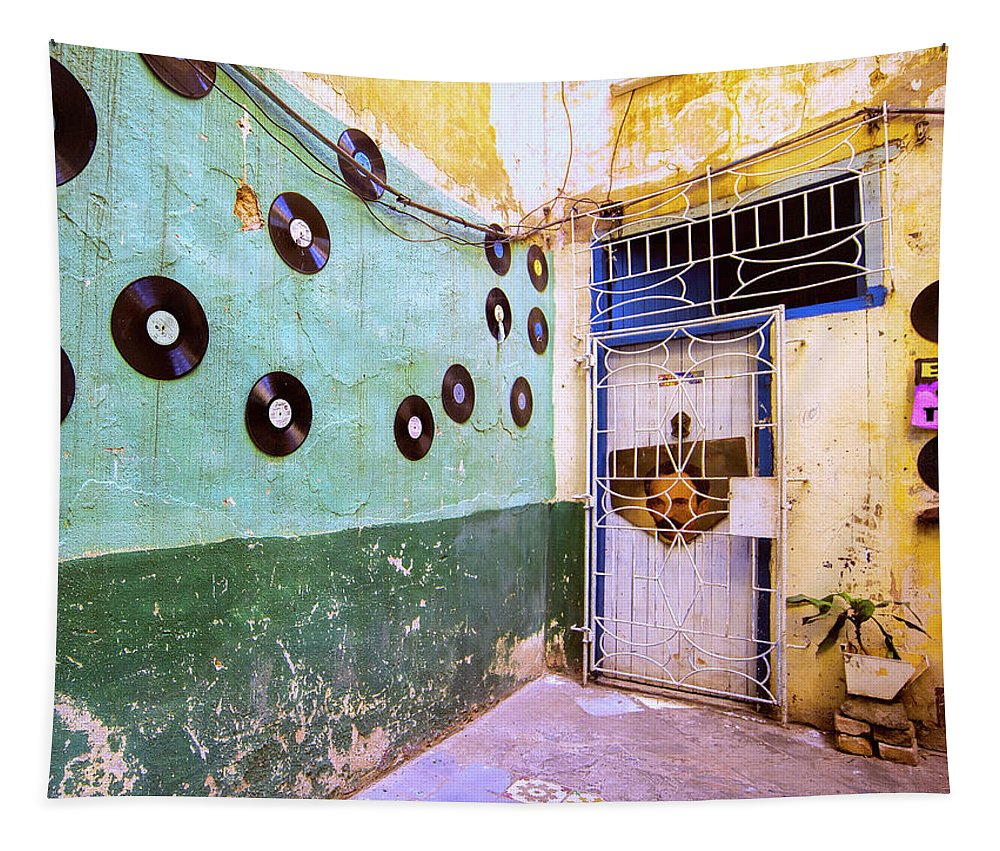 Cuba Tapestry featuring the photograph The Eye Tunes Store by Dominic Piperata